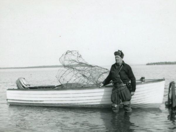 Conservation officer Milene on Lake Champlain at Point Au Roche near Plattsburg