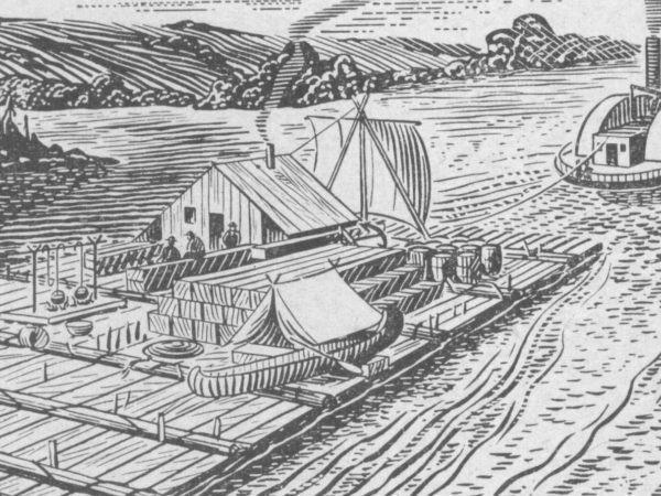 Sketch of lumber rafts bringing lumber to Carthage