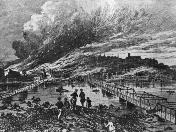 Sketch of 1844 fire in Carthage