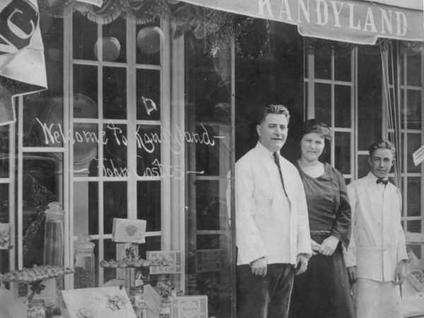Kandyland storefront with proprietors John and Mary Costes in Carthage