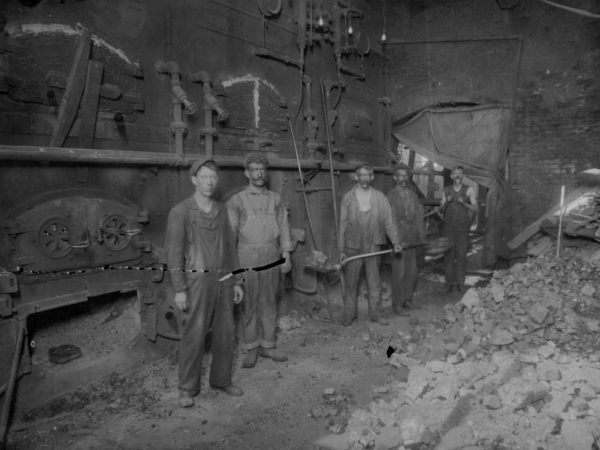 """Inside the """"power plant"""" at Wilna Machine in Carthage"""