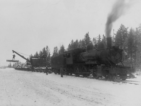 Grasse River Railroad with log loader in Cranberry Lake