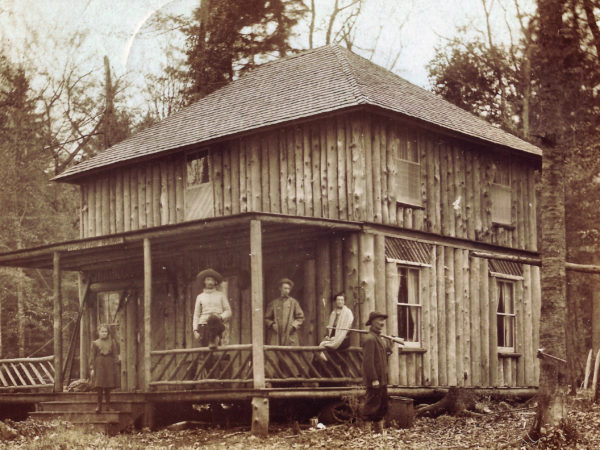 The Howland Brothers at their hunting camp in Cranberry Lake