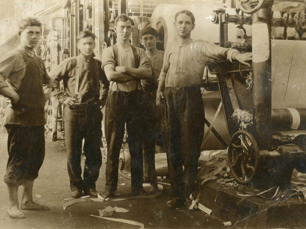 Young workers inside the Newton Falls Paper Mill in Newton Falls