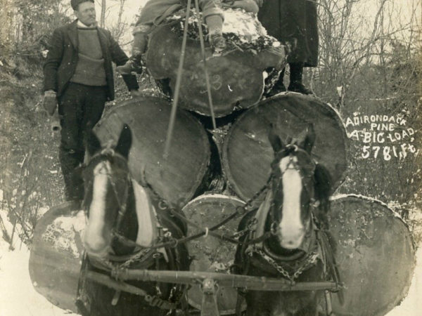 Vic McPhee's bob sled loaded with 5781 board feet of logs in the Adirondacks