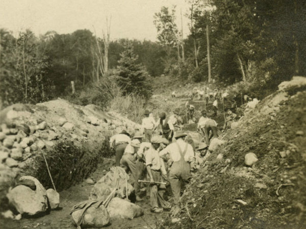 Digging a road bed near Crooked Trestle in the Town of