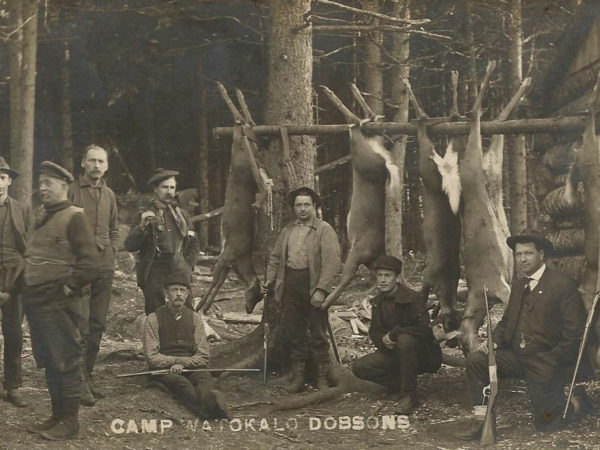Hunters pose with deer at Camp Watokalo Dobson's in the Adirondacks