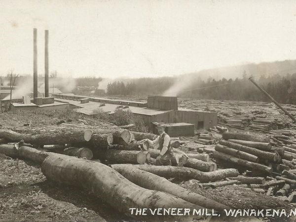 Exterior of a veneer mill in Wanakena