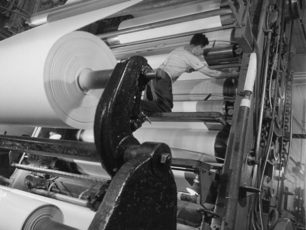 Working the super calendar inside Newton Falls Paper Mill in Newton Falls