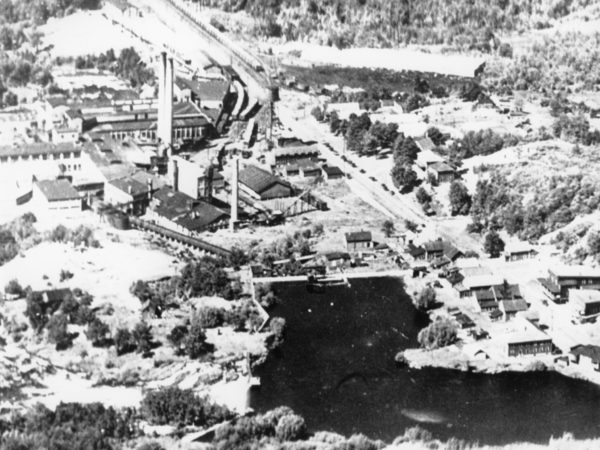Aerial shot of the DeGrasse Paper Company in Pyrites