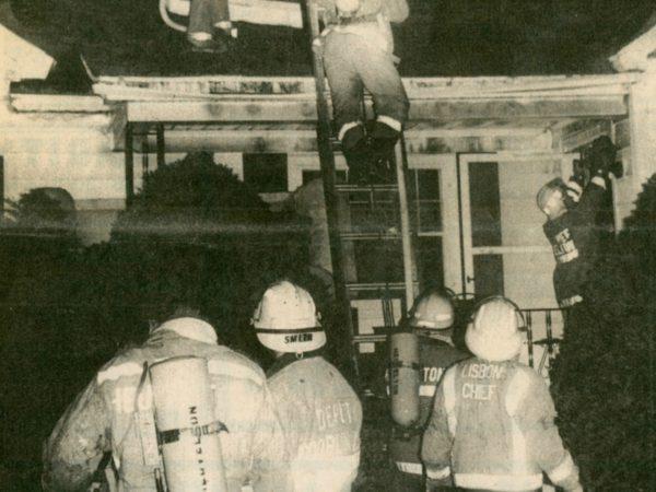Lisbon volunteer firefighters on Van Rensselaer Road in Lisbon