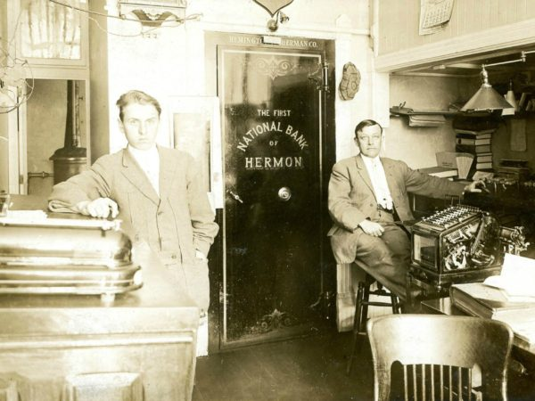 Cashiers inside The First National Bank of Hermon in Hermon