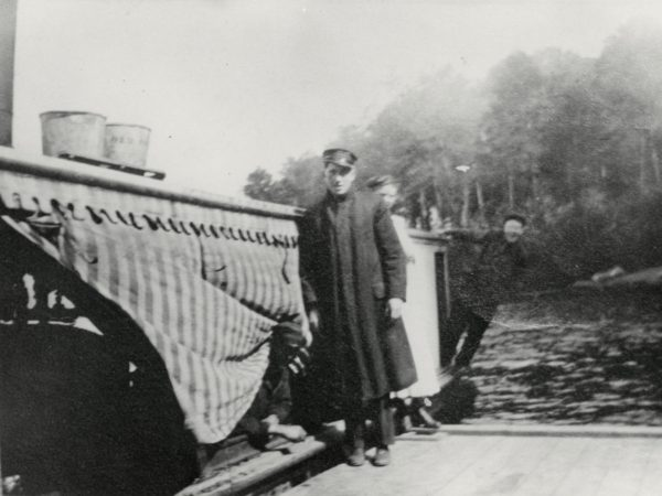 Captain Barker and the Old Forge mail boat on the Old Forge Pond