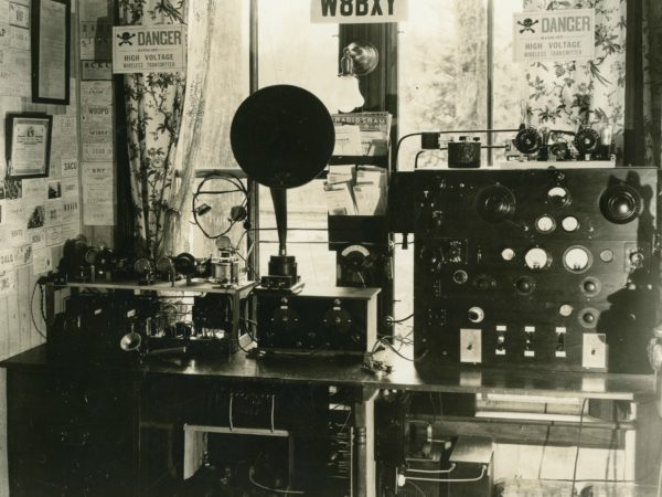 Inside Parson's radio station broadcast room (W8B7Y) in Old Forge