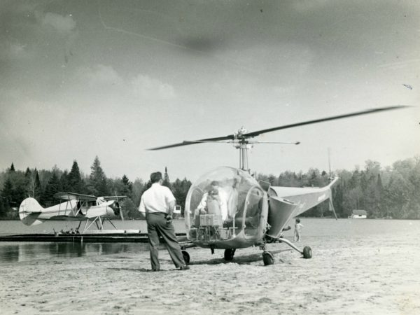 Black fly helicopter on Old Forge Pond