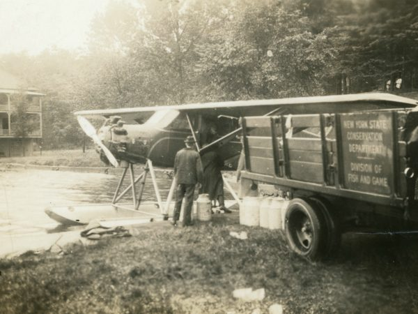 Seaplane preparing for fish stocking in Eagle Bay