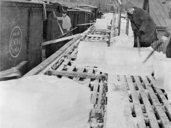 Ice harvest conveyor belt in Old