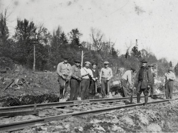 Railroad track repair crew on the Fulton Chain tracks in the Town of Webb