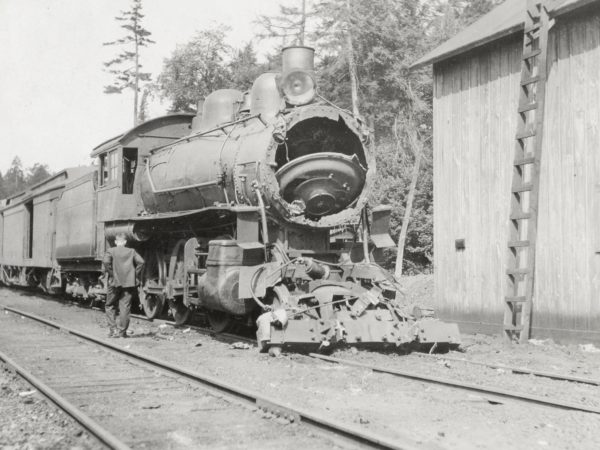 Damaged engine at the station in Raquette Lake
