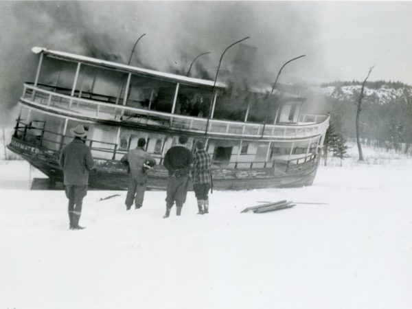 The Clearwater steamboat burning in Old Forge