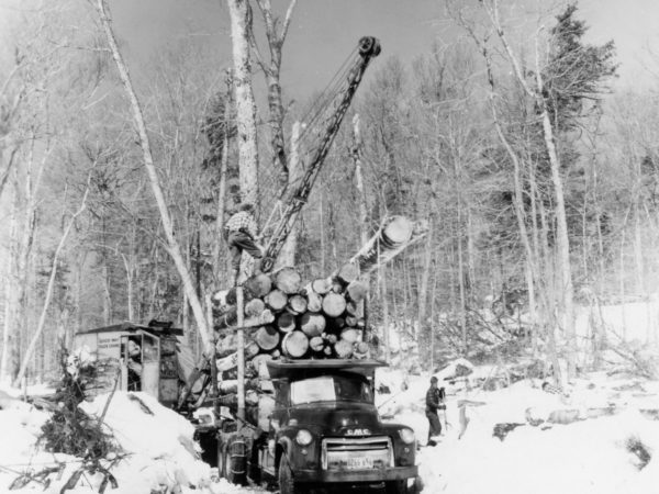 Strife's logging operation loading logs onto GMC truck in the Town of Webb