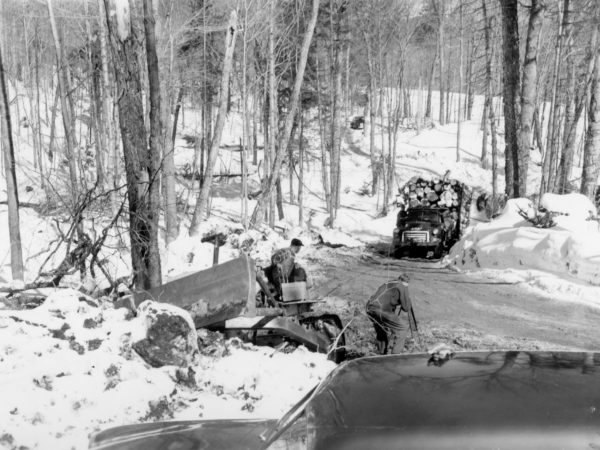 Clarence J. Strife's logging operation in the Town of Webb
