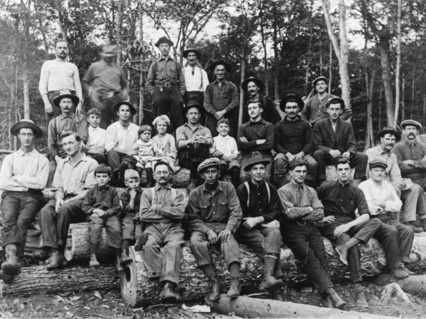 P & M Lumber Camp workers near Third Lake Creek in the Town of Webb
