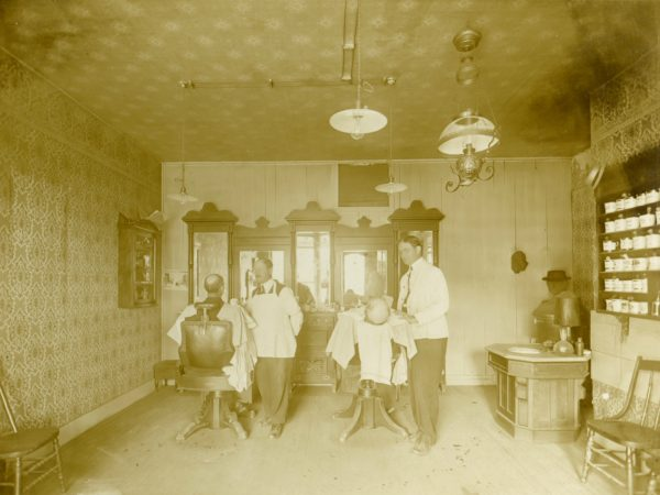 Barber shop interior in De Kalb Junction