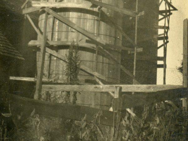 Constructing a wooden silo in the Town of De Kalb
