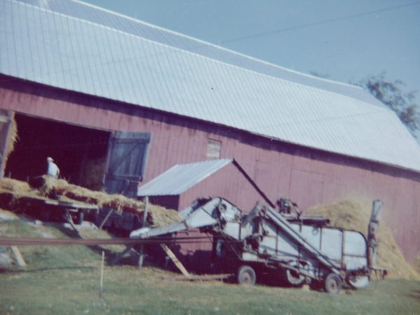 Threshing grain in the Town of De Kalb