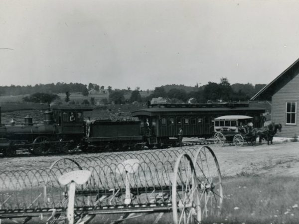 A train stopped at the depot in Hermon