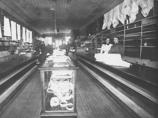 Interior of a dressmaking and tailor shop in Canton