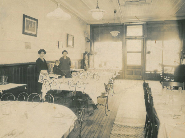 Waitresses inside the Canton Club Restaurant