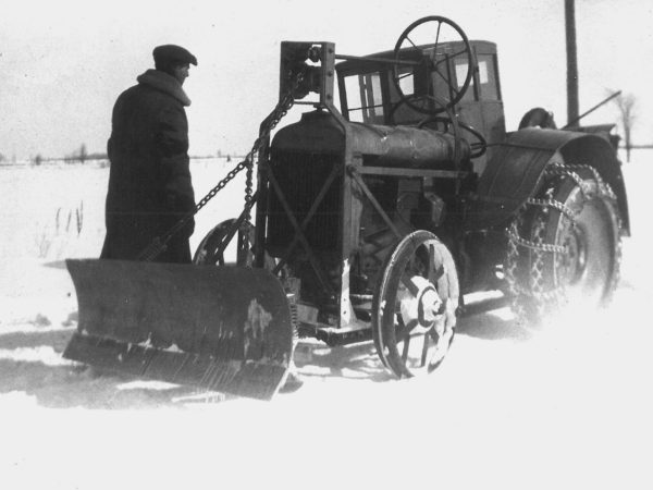Fordson Farm tractor rigged for snow plowing in Canton
