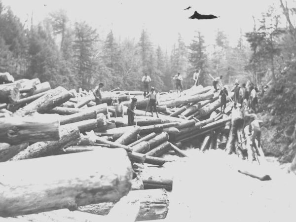 Loggers breaking up a log jam on the Grasse River in Pyrites