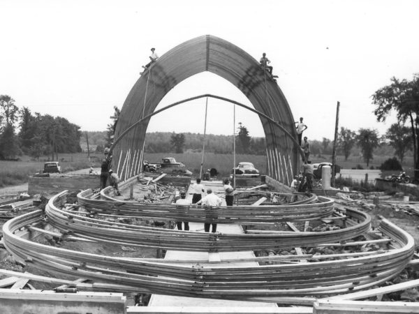 Workers constructing the Agway fertilizer building in Canton