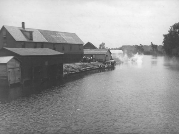 Passenger launch at dock on the Little River in Canton
