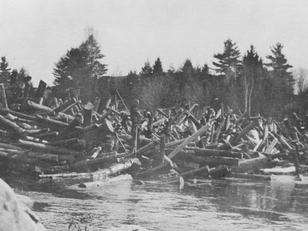 Loggers amidst a log jam on the Racquette River in Colton