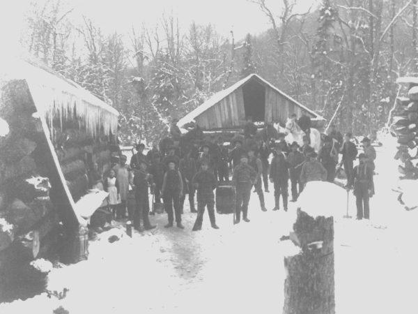 Logging families at Bert Frank lumber camp in Colton