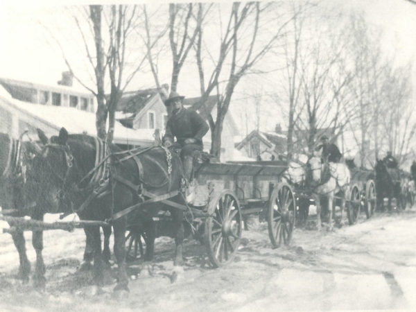 Transporting ore by horse-drawn wagon to the railroad in Edwards