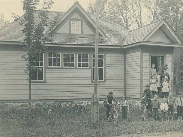 Children and teacher of the Brown's Falls School.