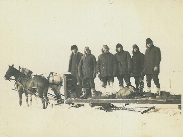 Surveying party during winter in Fine