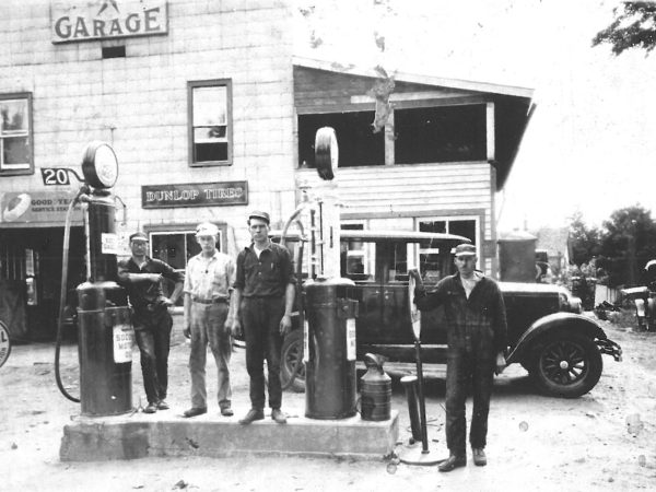 Gas station workers at the Kerr Garage in Fine