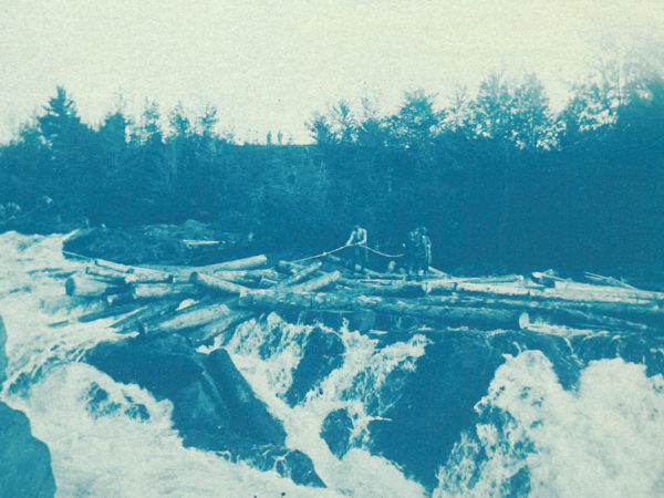 Log drive on the Racquette River in Colton