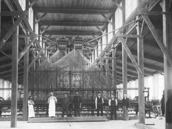 Industrial looms inside the International Lace Mill in Gouverneur