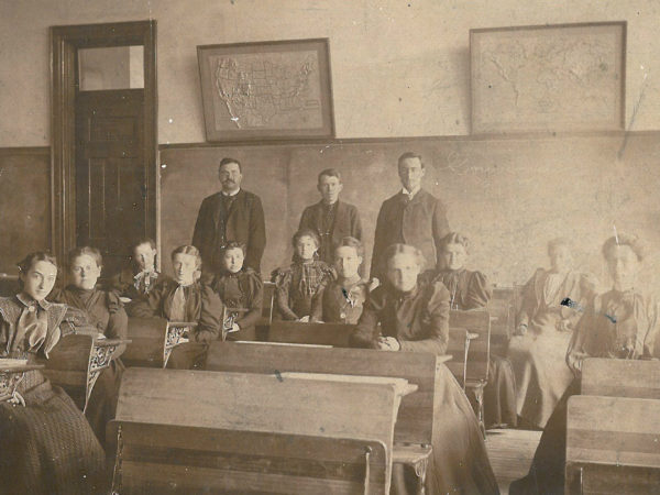 Students and teachers in classroom of the Gouverneur High School
