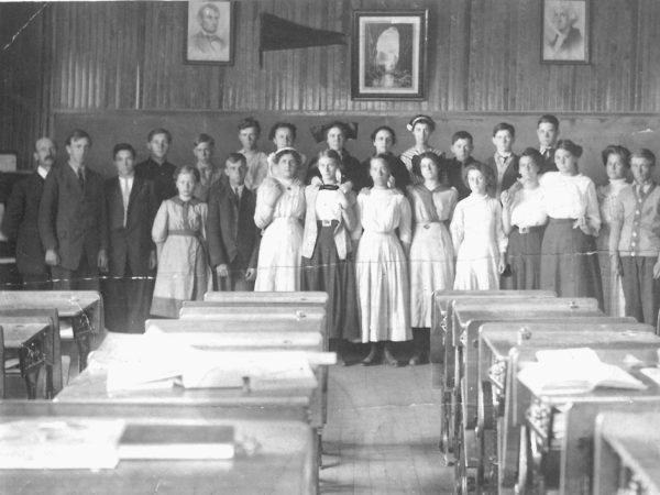 Upper grade students in classroom of the Oswegatchie Union School in Star Lake