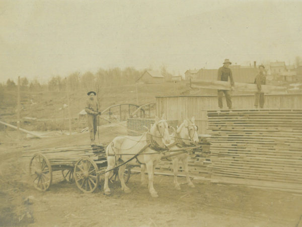 Claude Colton's sawmill yard in Oswegatchie