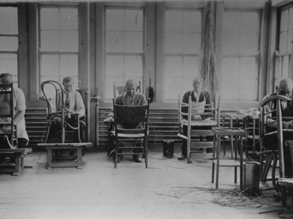 Patients learning how to reseat chairs at the State Hospital in Ogdensburg