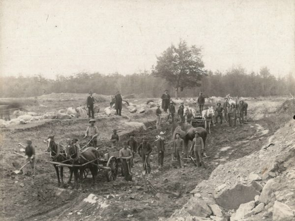Work crew building road in Canton